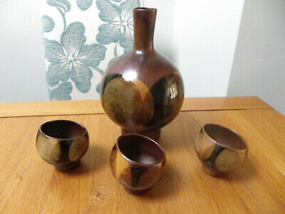 Retro Stoneware Pottery Decanter/Vase With 3 Cups • 10£