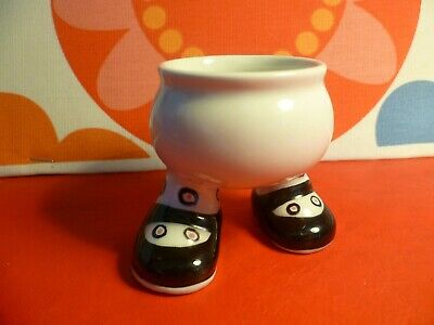 Early ? Lustre Pottery Roger Mitchell Walking Ware Egg Cup Black Shoes Spotty • 9.99£
