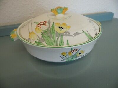 Art Deco Crown Devon Fielding's Serving Dish Tureen With Lid Hand Painted  29/5G • 5£