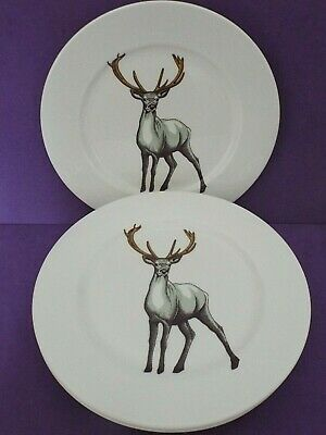 Jersey Pottery Faunus Stag SET OF 6   11  DINNER PLATES Bone China Brand New • 29.99£