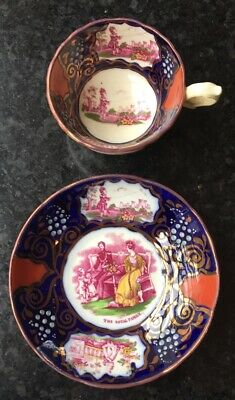 Antique Gaudy Welsh Royal Commemorative Cup & Saucer Victoria & Albert, Childr • 34£