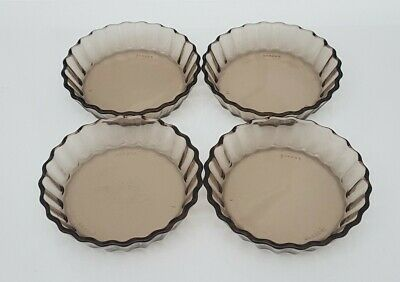Set Of Four Vintage French Individual Smoked Glass Dishes By Arcopal • 12.95£