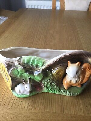 Vintage Withernsea Eastgate Pottery Squirrel & Rabbit Planter Or Vase In GC • 3£