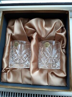 Royal Crystal Rock Glasses X 2 Boxed 24% Lead Crystal From Tuscany • 6.99£