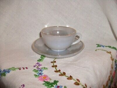 Vintage Arcopal French  Harlequin Pastel Cup And Saucer Silver Grey • 7.99£