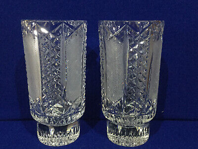 Crystal Glass Hand Cut Pair Of Vases • 24.95£