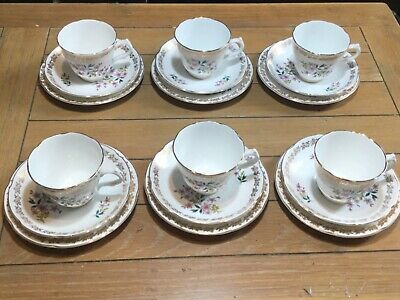 Collection Of Six Royal Grafton Fine Bone China Trios, Made In England • 25£