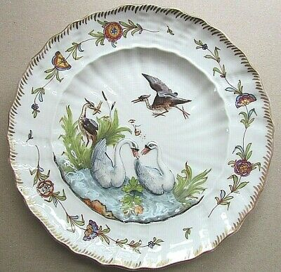 HEREND VINTAGE 9½  PLATE WITH SWANS & HERONS IN RELIEF AFTER KANDLER (Ref5509) • 165£