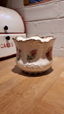 Vintage Staffordshire Ironstone Pottery Planter Plant Pot Roses Floral Victorian • 16£