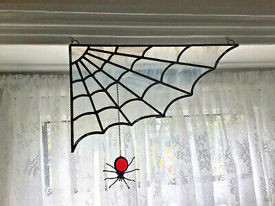 Stained Glass Panel, Spiders Web Suncatcher, With Spider • 45£