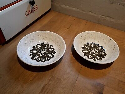 Set Of 2 1970s Vintage Retro Biltons Geometric Flower Cereal Dessert Soup Bowl • 9£