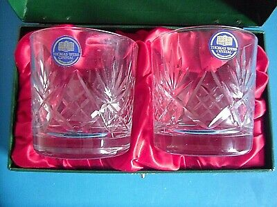 Pair Thomas Webb Crystal Cut Glass Whisky Tumblers.Satin Fitted Presentation Box • 35£