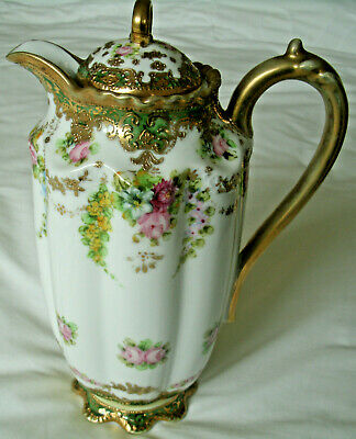 A  Stunning Gold Encrusted Noritake Floral Chocolate / Coffee Pot • 65£