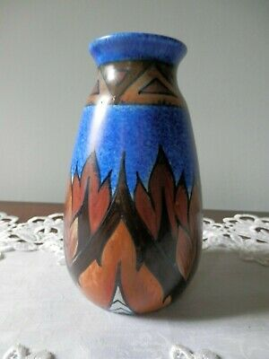 Art Deco Chamelion Ware Crew And Co Unusual Vase. Nicely Marked. • 26£