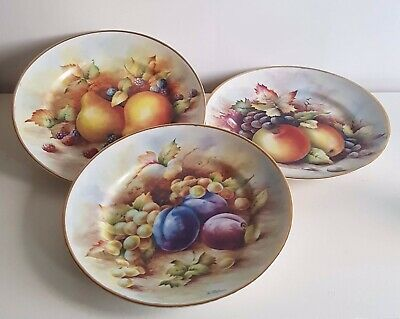 Fruit Plates X 3 Signed By Artist D Wallace. • 35£