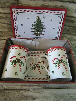 2 Spode Christmas Tree  Peppermint  Mugs And Coasters In Tin - Unused Gift • 15£