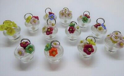 12 Vintage 1930/40s Czech Glass Small Flower Pot Menu Place Card Stands Holders  • 75£