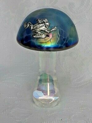 Azure Mushroom With Pewter Frog - Etched 'Heron Glass' On Base - Gift Box • 26£