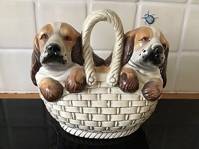 """Vintage Hand Painted Porcelain Pottery Dogs In Basket Figurines Ornament 9"""" X 9"""" • 10£"""
