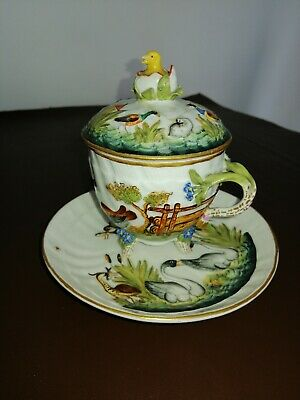 Antique Porcelain Chocolate Cup With Cover And Saucer • 115£