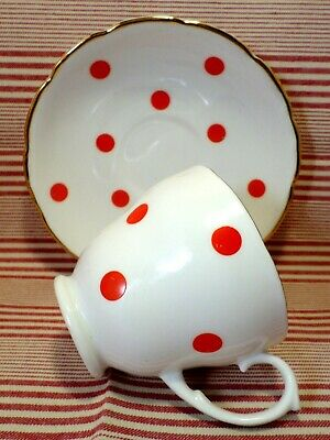 VINTAGE China RED POLKA DOT Tea Cup And Saucer 1950's Clifton China RETRO Kitsch • 12£