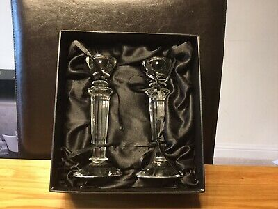 Pair Of Boxed Glass Candlesticks • 7£