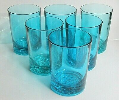 TURQUOISE GLASS - SET OF SIX TUMBLERS / GLASSES - HOBNAIL BASES (Ref5965) • 42.50£