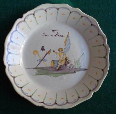 Antique French Revolution Faience Plate Vive La Nation Support Monarchy 1790 • 10£