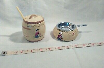 Vintage Souvenir Manor Ware(?) Welsh Mustard Pot Liner Spoon Tea Strainer & Bowl • 7.50£