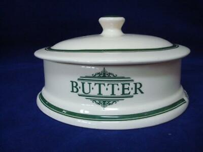 The 1869 Victorian Pottery Lidded Butter Dish - Green • 15£