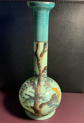 Antique Victorian Green Opaline Hand Painted Glass Vase Trees Flowers Butterfly • 12£