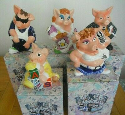 Paul Cardew BANKER Family NATWEST PIG PiggyBank Boxed PIGS Moneybox Nat West NEW • 400£