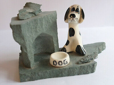 Rare VINTAGE Philip Laureston POTTERY Spotted DOG And BOWL On Slate Base • 14.99£