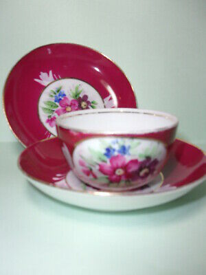 Antique Russian Porcelain Cup & 2 Saucers, Gardner Moscow. • 19.99£