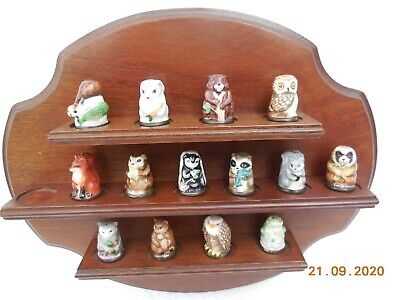 1982 Franklin Mint  ~ Friends Of The Forest Thimble Collection & Display Shelf • 25£