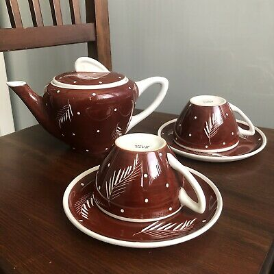 Mid Century (1.0 Pt) Willow Print Brown White Tea Pot Retro Cups Set Italy 1950s • 28£