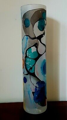 1970s VINTAGE Stunning Large Studio Art Glass Hand Vase Hand Painted & Signed. • 12.95£