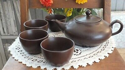 Japanese Style Pottery Teapot With 4 No Handles Drinking Cups Bowls Not Marked • 4.20£