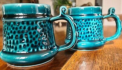 Vintage PRINKNASH ABBEY BLUE MUGS X 2 • 15£