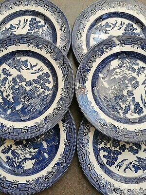 Willow Pattern Dinner Plates X 6 Blue And White 9.5  By Churchill Good Condition • 20£