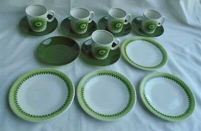 English Ironstone Pottery TOBAGO Green Geometric Design 5 Cups 6 Saucers 4 Plate • 26.99£
