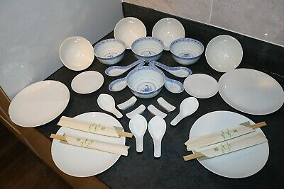 Oriental Dinning Set In Blue / White Porcelain With Opaque Pattern • 8.75£
