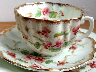 Very Pretty Antique Victorian C1895 Fluted Porcelain China Trio • 7.50£