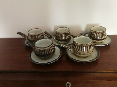 Sheila Willison Overstone Studio Pottery Espresso Coffee Cups And Saucers • 7.40£