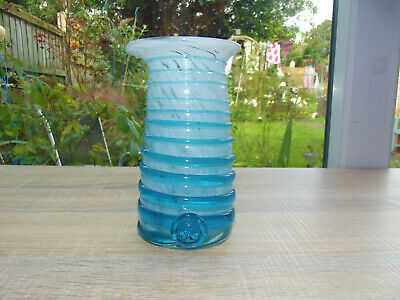 Tall Mdina Blue And White Trailed Vase With Rare Original    Artisans   Label • 7.99£