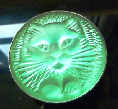 Fabulous Lalique Green Crystal Cat Chat Brooch Pin  • 175£