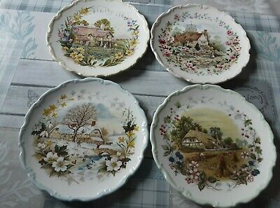 Set Of 4 Royal Albert Plates From The Cottage Garden Year Series • 10.80£
