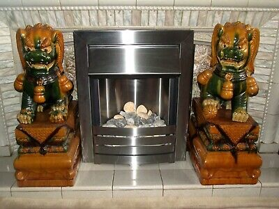 * 2 Foot HIGH * LARGE   Vintage   Oriental Temple Lion Dragon FOO Dogs *  • 225£
