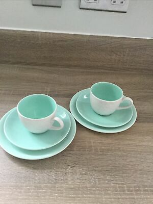 2 X Trio Vintage Poole Pottery Twintone Ice Green & Seagull  Plates Saucers Cup • 6£