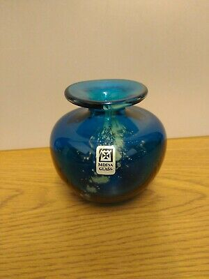 Mdina Squat Vase In Deep Blue. Signed And Labelled. • 16.99£